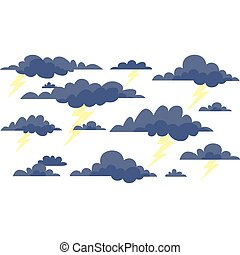 wolkenhimmel, sturm, blitz