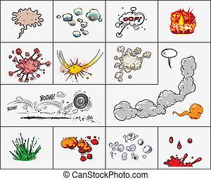 wolkenhimmel, und, explosionen