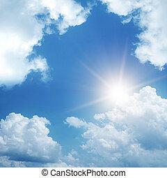 wolkenhimmel, und, sonne, auf, himmelsgewölbe