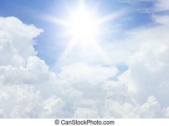 wolkenhimmel, und, sonne, in, der, blauer himmel, für,...