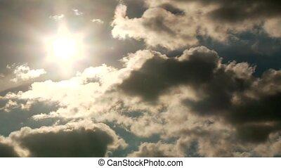wolkenhimmel, und, sonne, (timelapse)