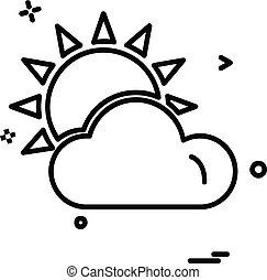 wolkenhimmel, vektor, design, ikone