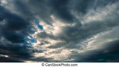 wolkenhimmel, Version, dramatisch, -, schlechte, Wetter,...