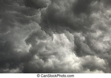wolkenhimmel, vorausgehen, himmelsgewölbe, dunkel, düster,...