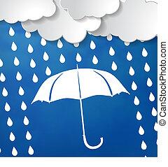 wolkenhimmel, weißer schirm, regen