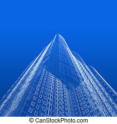 wolkenkrabber, bouwschets