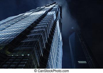 wolkenkrabber, op, avond lucht