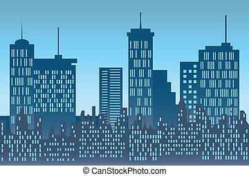 wolkenkrabbers, op, stedelijke skyline