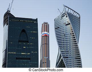 wolkenkratzer, geschaeftswelt, (city), moskauer , international, nacht, russland, zentrieren