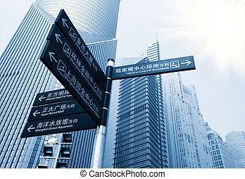 wolkenkratzer, in, shanghai, porzellan