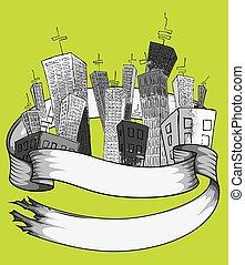 wolkenkratzer, karikatur, design, stadt