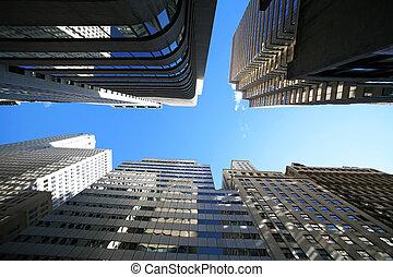 Wolkenkratzer, klassisch,  -, straße,  york, neu,  broadway,  Manhattan, Reflexionen