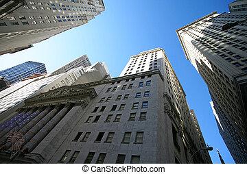 Wolkenkratzer, klassisch, tauschen, Wand,  -, straße,  york, neu,  Manhattan, Bestand