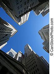 Wolkenkratzer, klassisch, Wand,  -, straße,  york, neu,  Manhattan