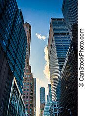 Wolkenkratzer, Stadtmitte, straße,  york, neu, entlang,  51st,  Manhattan
