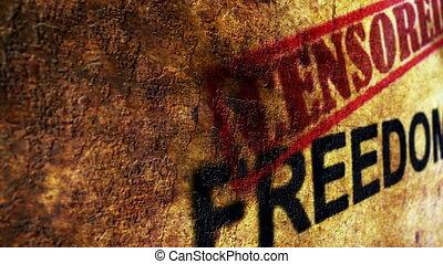 wolność, pojęcie, grunge, cenzurowany