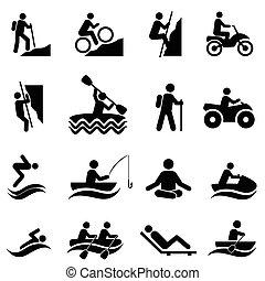 wolny czas, i, recreational działania, ikony