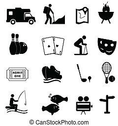 wolny czas, i, zabawa, ikony