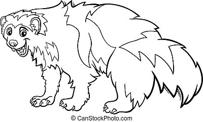 wolverine animal cartoon coloring page - Black and White...