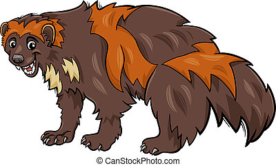 wolverine animal cartoon illustration - Cartoon Illustration...