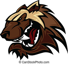 Graphic Vector Image of a Wolverine or Badger Mascot Head