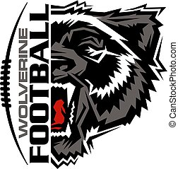 wolverine football team design with half mascot and laces for school, college or league