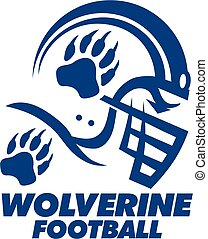 wolverine football team design with helmet and paw print for...