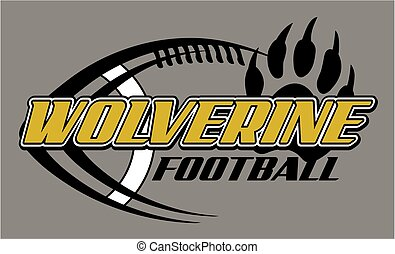 wolverine football team design with laces and paw print for school, college or league