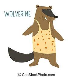 Wolverine in shirt cartoon childish book character. Wild...