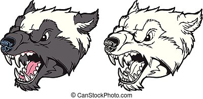 Wolverine Mascot Head Growling Vector Cartoon Illustration -...
