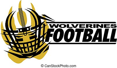 wolverines football team design with helmet and paw print...
