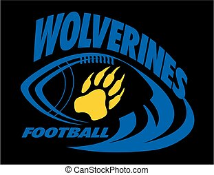 wolverines football team design with laces and paw print for...