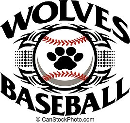 wolves baseball - tribal wolves baseball team design with...
