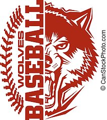 wolves baseball team design with stitches and half mascot ...
