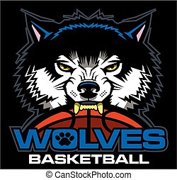 wolves basketball team design with ball and half mascot for...