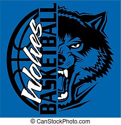 wolves basketball team design with ball and mascot for ...
