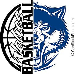 wolves basketball team design with ball and mascot for...