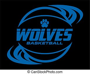 wolves basketball team design with ball and paw print for...