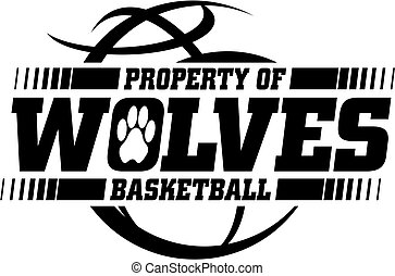 wolves basketball team design with ball for school, college ...