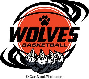wolves basketball team design with claw holding ball for ...