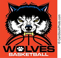 wolves basketball team design with mascot and ball for ...