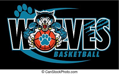 wolves basketball team design with mascot and paw print ...