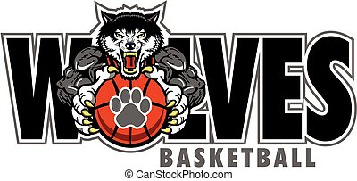 wolves basketball team design with mascot and paw print...