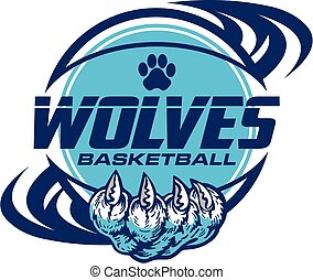 wolves basketball team design with paw print inside ball for school, college or league