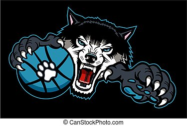 wolves basketball team mascot with ball for school, college...