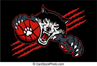 wolves basketball team mascot with ball for school, college ...