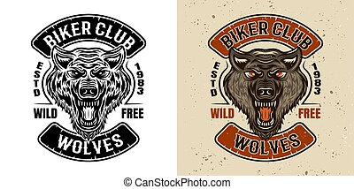 Wolves biker club vector emblem in two styles