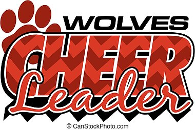 wolves cheerleader team design with chevrons and paw print