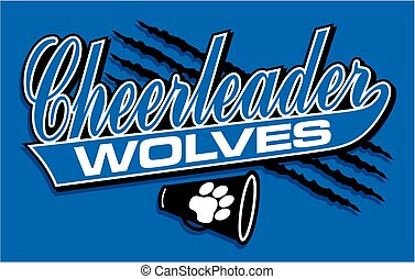 wolves cheerleader team design in script with tail for...