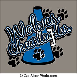 wolves cheerleader team design with megaphone and paw prints